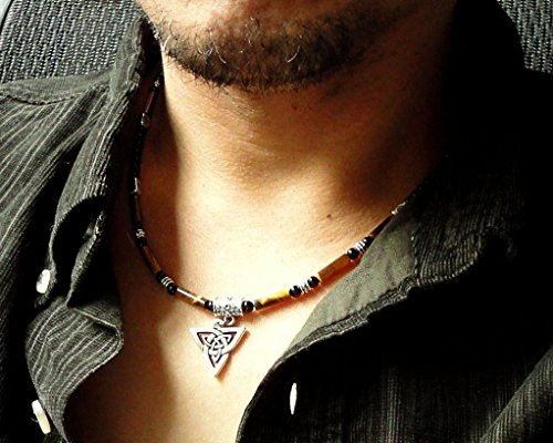 Celtic Knot Triquetra Charm Men's Necklace with Tiger Eye and Black Onyx Gemstone - Handcrafted in - Musicians Usa In