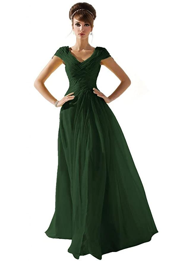 8705d271fc42 Amazon.com  Dearta Women s A-Line V-Neck Short Sleeves Floor-Length Chiffon Prom  Dresses  Clothing