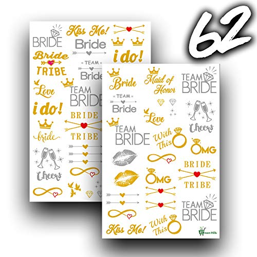 Most Cute and Durable Metallic Bachelorette Party Flash Tattoos - Great for Outdoor/Indoor Use - Can Be Used at All Bachelorette Events - Built in Water/Scratch Proof Technology ()