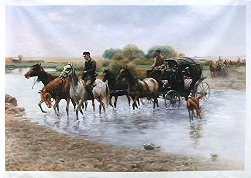 Crossing the River - Alfred Wierusz-Kowalsk high quality hand-painted oil painting reproduction,long wagon trains scene,office large wall art - Carriage Crossing