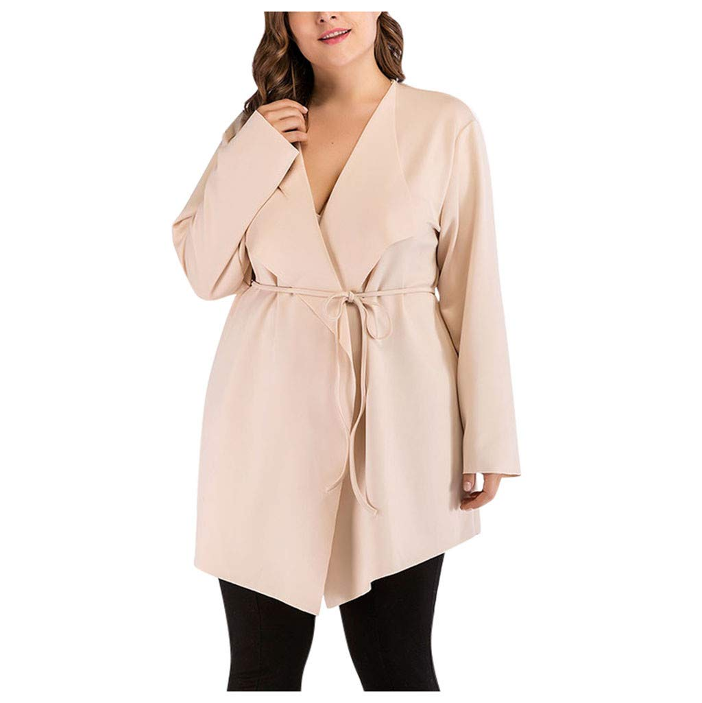 JSPOYOU Women's Plus Size Coat Long Sleeve Coat Jacket Outwear Cardigan Coat Tops Beige by JSPOYOU