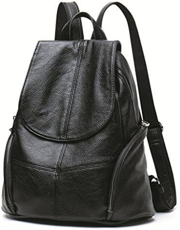 女性のブラックリュックサック大容量牛革ハンドバッグカジュアル盗難防止ソフトレザーバックパック (色 : Black)