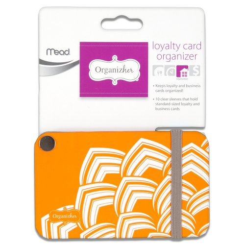 Mead Organizher Loyalty Card Organizher, 20 Cards, 3.38 x 2.12 Inches, Orange (33129)