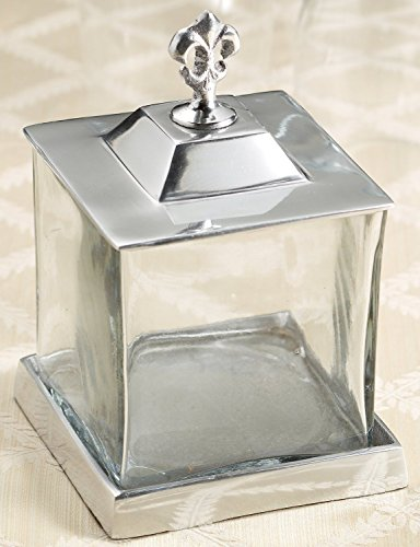 KINDWER Fleur-de-Lis Apothecary Jar with Lid and Base
