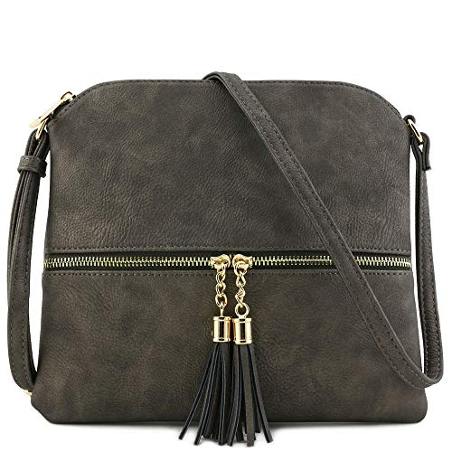 Lightweight Medium Crossbody Bag with Tassel (Pewter) ()