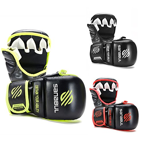 Sanabul New Item Essential 7 oz MMA Hybrid Sparring Glove (Black/Green, Large/X-Large)