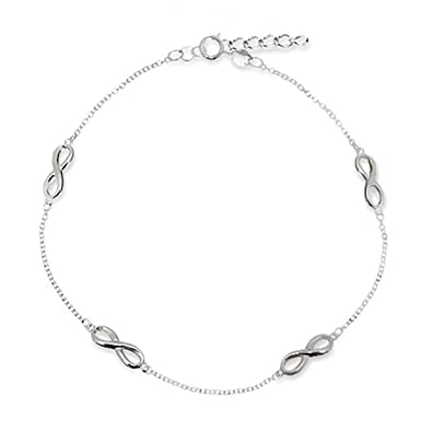 inch heart jewelryweb ankle bracelet spring anklet com amazon ring dp sterling silver triple bracelets