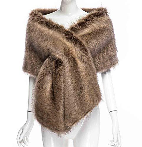 Changuan Women Long Faux Fox Fur Shawl Bridal Stole Cover up Winter Soft Bolero Scarf for Evening/Party/Show Raccoon-L