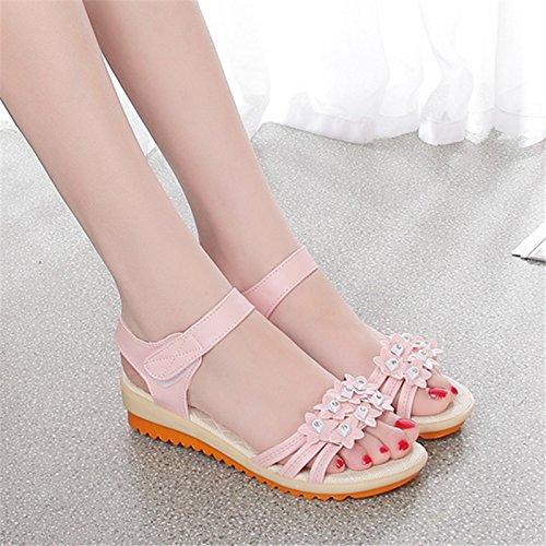 Las mujeres los zapatos de cuero verano Sandalia Tacón,34 blanco Pink