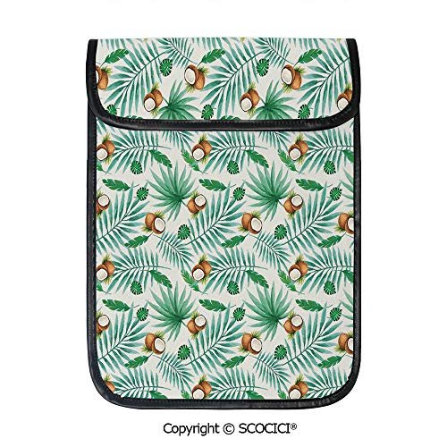 SCOCICI Shockproof Tablet Sleeve Compatible 12.9 Inch iPad Pro Coconut Fruit Exotic Nature Palm Tree Leaves Aloha Hawaii Polynesian Food Tablet Protective Bag