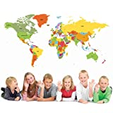 PopDecors Educational World Map 50 inch for Kids Room Wall Decal Vinyl Wall Sticker Wall Mural Playroom Vinyls Children Wall Arts