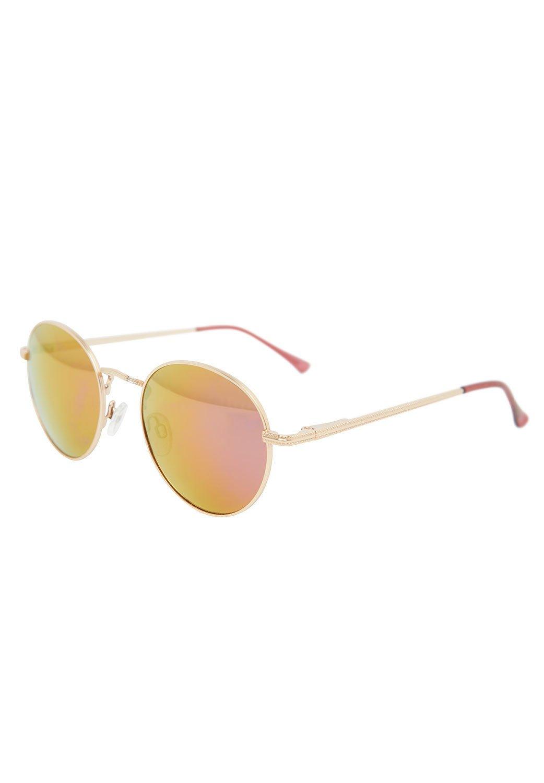Hallhuber Spiegelbrille mit goldenem Metallgestell lila, O.A