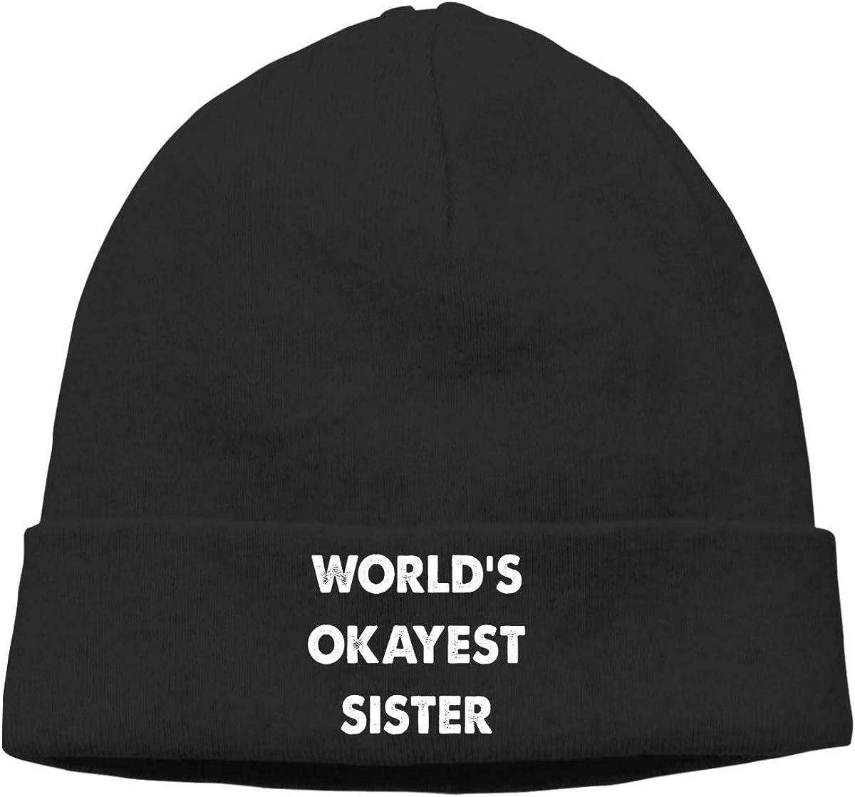 Riokk az Worlds Okayest Sister Skull Cap Beanie for Mens Black