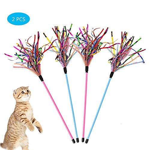 Cat Teaser Wand (Worbee Cat Teaser Wand 2PCS Cat Wand Toys Interactive Catcher Teaser with Sound Paper Tassels and Soft Line Tube Funny Exercise for Kitten or Cats)