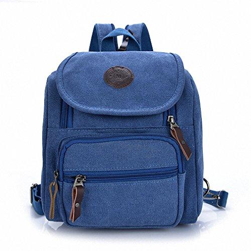 Blue backpack shoulder student handbag Dark canvas Small bag Bestbag ZUq8X8