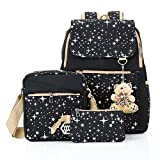 Hotrose 3X Girl School Bags Travel Canvas Rucksack Backpack School Shoulder Bag Cross Body Messenger Bag (Black)