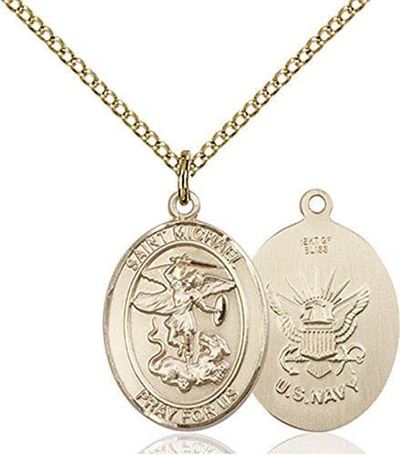 - Patron Saints by Bliss 14K Gold Filled Saint Michael Navy Military Medal Pendant, 3/4 Inch