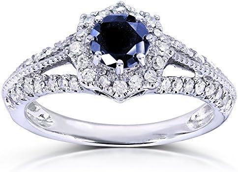 Kobelli Vintage Sapphire & Diamond Engagement Ring 1 Carat (ctw) in 14k White Gold