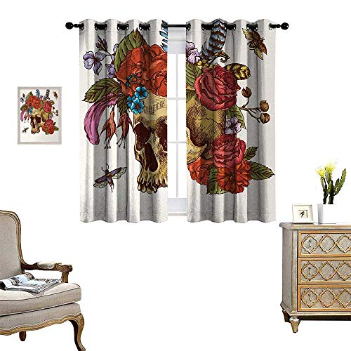 Anyangeight Day of The Dead Patterned Drape for Glass Door Vintage Sugar Skull Bouquet of Flowers Feathers Blooms Bugs and Bees Print Waterproof Window Curtain W72 x L45 Multicolor ()