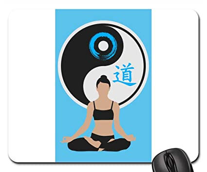 Amazon.com : Mouse Pads - Cat Yin Yang Women Silhouette Yoga ...