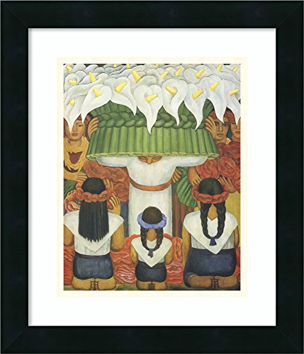 Anitas Flowers - Framed Wall Art Print Flower Festival: Feast of Santa Anita by Diego Rivera 15.00 x 17.38