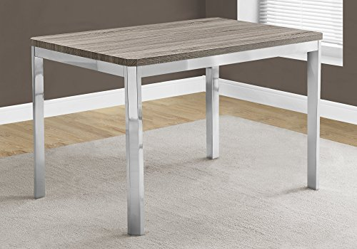 Monarch Specialties I 1042 Dining TABLE32quotX 48quot/ Dark Taupe/Chrome Metal 475quot L x 315quot D x 30quot H