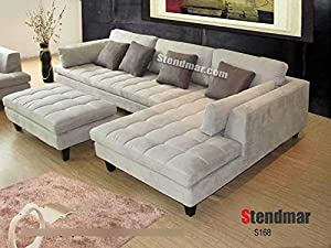 Amazon Com 3pc New Modern Gray Microfiber Sectional Sofa