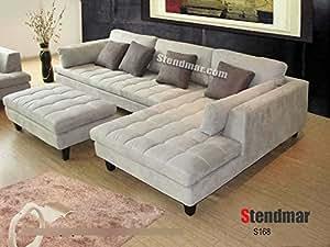 Amazon Com 3pc New Modern Gray Microfiber Sectional Sofa
