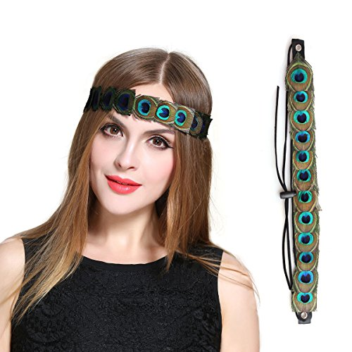 KISSPAT Real Feather Hair Band, Boho Chic Headband, Adjustable Size (Just Peacock)