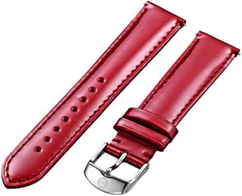 MICHELE MS18AA050602 18mm Patent Leather Red Watch Strap
