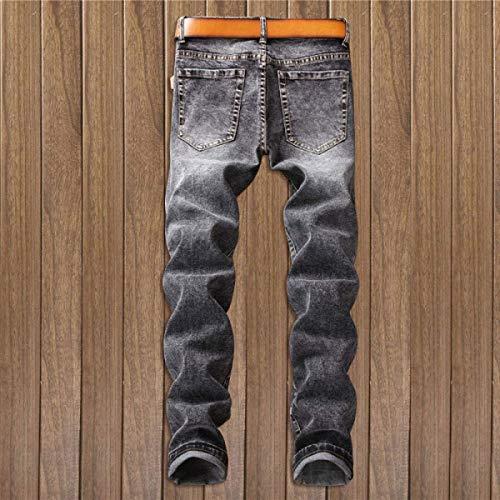 Vintage Micro Fit Casual Vita Bassa Da Slim Jeans Pantaloni Uomo Bomb Senza Strappati Cinturino Blackgrey Dritti A nqI4Hp