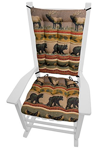 Canoe Bears Northwood (Barnett Products Woodlands Northwoods Rocking Chair Cushions - Size Extra-Large - Seat Cushion and Back Rest - Latex Foam Fill (Bears/Moose, Presidential))