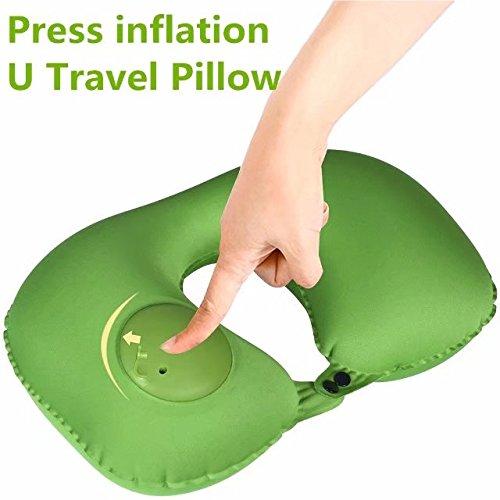 Prensa inflación Linen almohada hinchable, cuello U almohada de ...