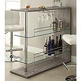 home bar unit - Coaster 100156 Home Furnishings Bar Unit, Weathered Grey