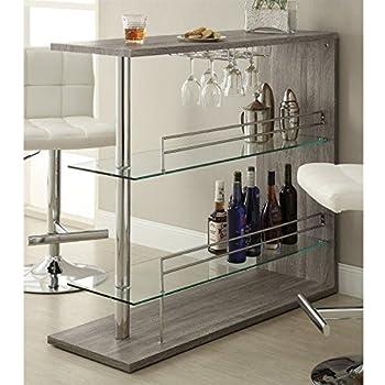 Delightful Coaster 100156 Home Furnishings Bar Unit, Weathered Grey