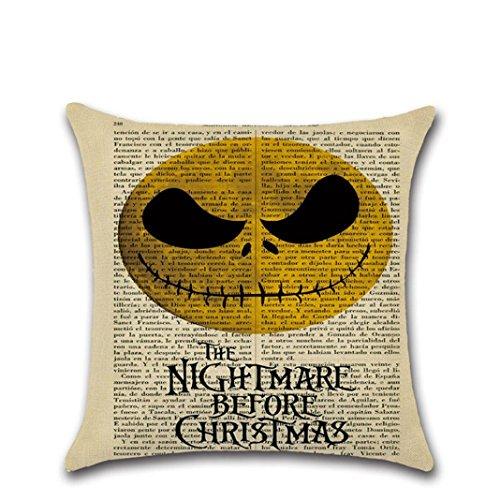 Halloween Pillow Cover, Howstar Linen Sofa Letter Print Vintage Pillowcase Home Decor (C) ()