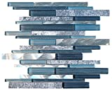 tiles for bathrooms Glossy Blue Glass and Blue Stone Random Brick Straight Pattern Glass Mosaic Tiles for Bathroom and Kitchen Walls Kitchen Backsplashes