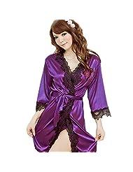 Yontree Women's Sexy Lace Lingerie Robe Pyjamas Nightwear with G-String Purple