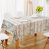 Sandweek Vintage Wooden Design Pattern Decorative Macrame Lace Tablecloth Washable Dinner Picnic Cotton Linen Fabric Decorative Table Top Cover (55 Inch x 71 Inch)