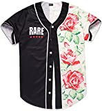 Pizoff Short Sleeve Arc Bottom Baseball Team Jersey 3D All Over Contrast Floral Print Basketball Shirt Y1724-48-L