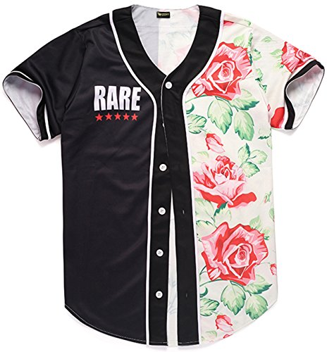 Pizoff Short Sleeve Arc Bottom Baseball Team Jersey 3D All Over Contrast Floral Print Basketball Shirt Y1724-48-M