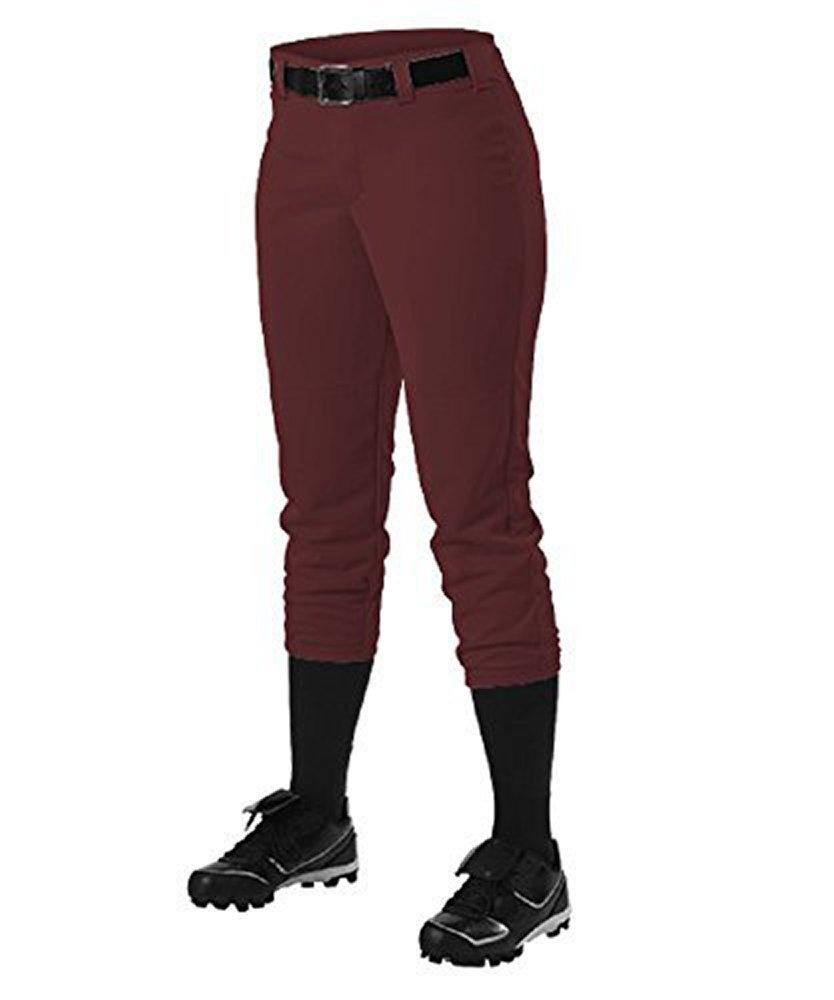 Alleson Athletic Women 's Softball Pants withベルトループ B01G2LY7NQMaroon Girls X-Large (29-31\