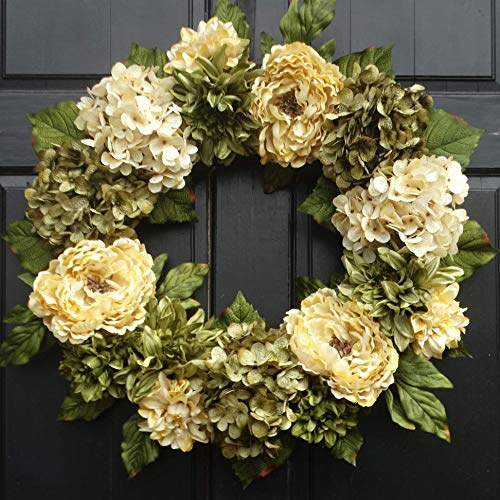 Large Year Round Wreath for Spring Summer Fall Front Door Decor; 24 Inch; Dahlias, Peonies and Hydrangeas
