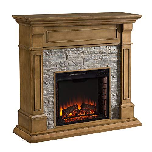 Southern Enterprises AMZ4939EF Jayben Faux Stone Media Fireplace, Gray Oak