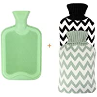 Excel Life Premium Classic Rubber Hot Water Bottle with 2 Cute Cozy Knit Covers (2 Liter Black and Mint Green Stripe)