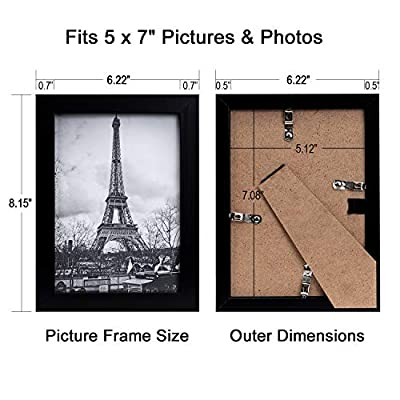 upsimples 5x7 Picture Frame Set of 17,Black Picture Frames for Wall or Tabletop Display