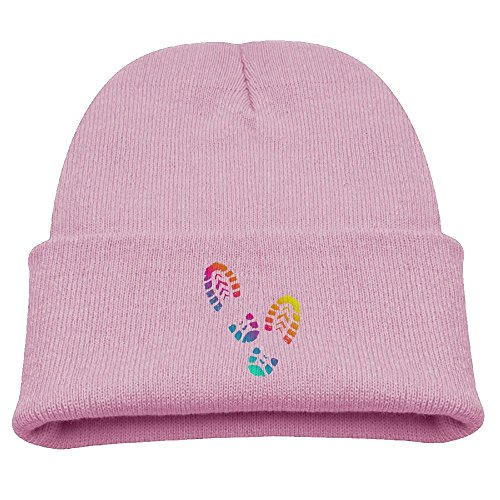 Grass Cartoon Hand-Painted colorful Shoe Prints Children Winter Warm and Comfortabl Cute Pattern Knitting Hat Beanie Skull Capone Size Pink (Nike Light Up Shoes)