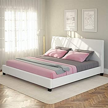 this item sonax corliving san diego leatherette upholstered king bed in white - Bed Frames San Diego
