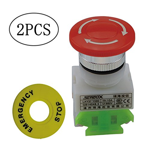 URBEST 2 Pcs 4 Pins Re Cap 1NO 1NC DPST Emergency Stop Push Button Switch AC 660V 10A for Relay (Switch Button Push Stop)
