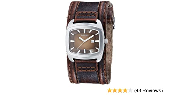 Amazon.com: Fossil Casual Cuff Leather Watch Brown with Silver-Tone [Watch] Fossil: Fossil: Watches
